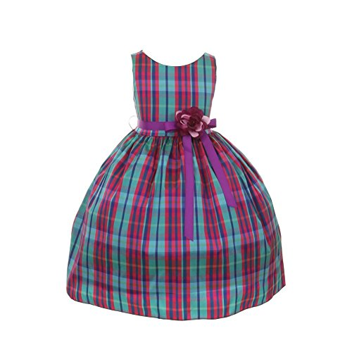 Cinderella Couture Big Girls Blue Pink Checker Print Special Occasion Dress 8-12
