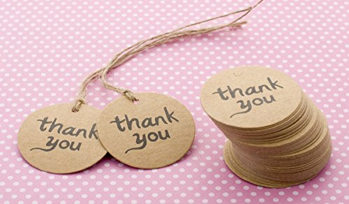 Still 100pcs Wedding Brown Rectangle Kraft Paper Tag Bonbonniere Favor Gift Tags with Jute Twines (100PCS Thank You)