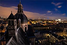 France Paris City Night Architecture Roof 20X30 Inch Poster Print