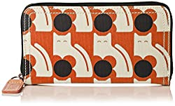 Orla Kiely Poppy Cat Print Big Zip Wallet, Persimmon, One Size