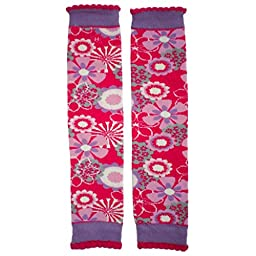 Huggalugs Girls Fancy Free Pink Lilac Flowers Legwarmers