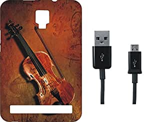 BKDT Marketing Printed Soft Back Cover Combo for Micromax Bolt Q331 With Charging Cable