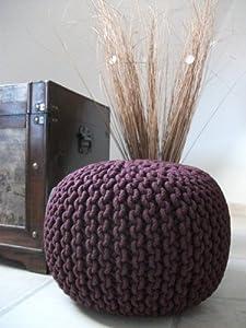 strick pouf bordeaux rund 40 x 35 cm sitzkissen strick. Black Bedroom Furniture Sets. Home Design Ideas