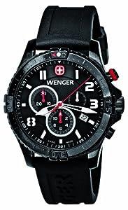 Wenger 77053 - Reloj analógico de caballero de cuarzo con correa de silicona negra