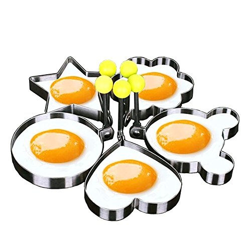 5pcs/set Stainless steel Cute Shaped Fried Egg Mold Pancake Rings Mold Kitchen Tool (Tanning Stickers Variety Pack compare prices)