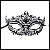 Burlesque-Boutique Laser Cut Metal Venetian Mask Black with Rhinestone