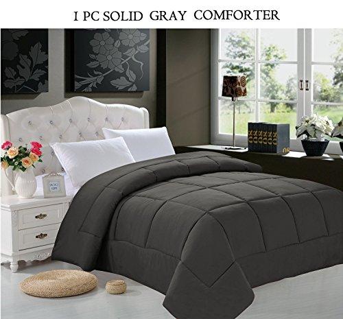 Elegant Comfort® Luxury Goose Down Alternative Double Fill Comforter (Duvet Insert), Full/Queen Size, Gray front-1017758