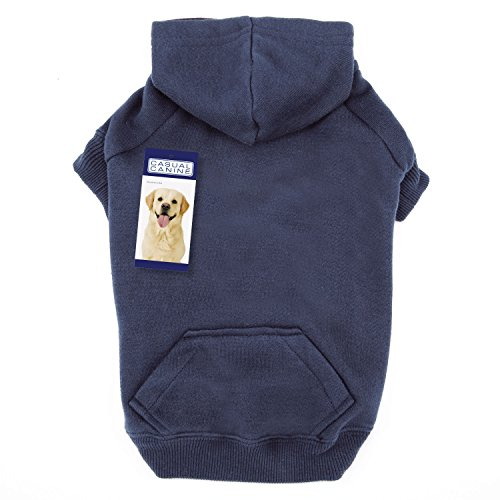 Casual Canine 12-Inch Cotton Basic Dog Hoodie, Small, Navy