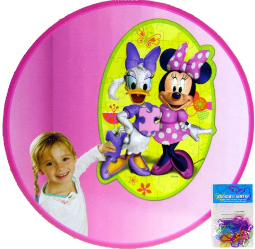 "2 Item Bundle: 46 pc Minnie Mouse Wall Puzzle 24""x36"" (Removable/restickable) and a 12-pack of Silicone Shaped Bracelets"