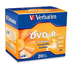 Verbatim 95069 4.7 GB up to 16x Branded Recordable Disc DVD-R 20-Disc Slim Case