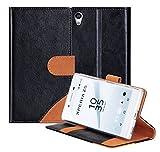 Sony Xperia Z5 ケース,Fyy® 良質PUレザーケース 手帳型カバー カード収納 スタンド仕様 マグネット式 高品質 超薄型スリムケース 最軽量 保護ケース スマートフォンケース ブラックxブラウン