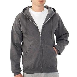 Fruit of the Loom Best Collection™ Men\'s Fleece Full Zip Hood Medium Charcoal Heather