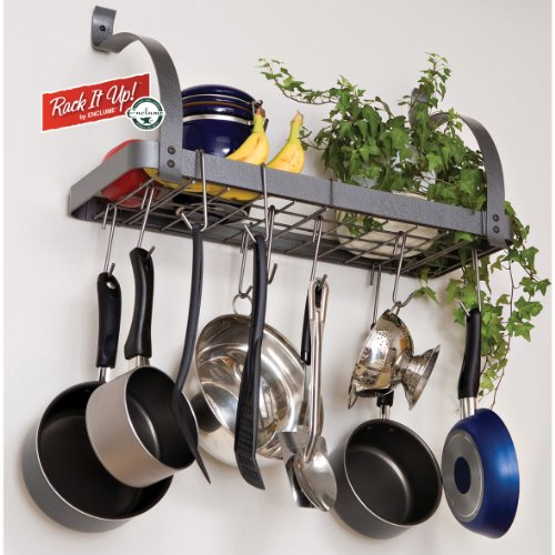 Hanging pot rack kitchen pan organizer cookware wall mount for Kitchen s hooks for pots and pans