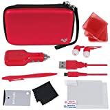 Nintendo 3DS XL Deluxe 12-in-1 Accessory Travel Pack / Case for the New 3ds Xl Console: Red