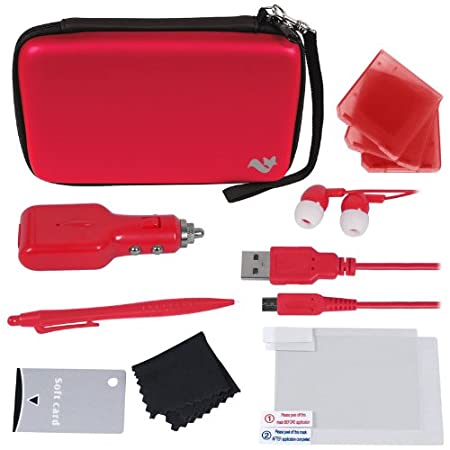 ButterFox Deluxe 12-in-1 Accessory Travel Pack / Case For the New 3DS XL Console: Red (Nintendo 3DS XL)