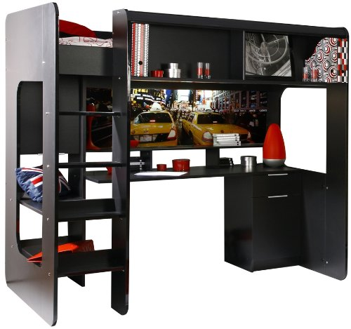 lit mezzanine noir pas cher. Black Bedroom Furniture Sets. Home Design Ideas