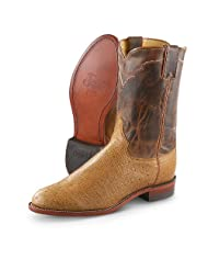 Men's Justin Smooth Ostrich Western Boots Antique Tan