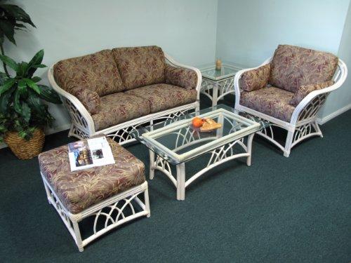 Rattan Living Room Loveseat Armchair Ottoman Coffee End Tables 5 Piece Set