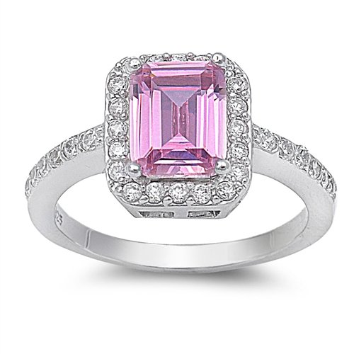 10Mm .925 Sterling Silver Luxury Beautiful Elegant Rectangle Emerald Cut Pink Sapphire Cz With Clear Cz Ring Size 5-10 (5)
