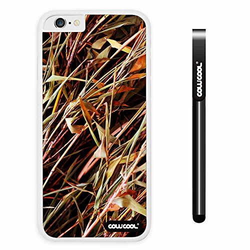 CowCool® Apple iphone 6 4.7 Inch Soft Silicone Straw Grass Mossy Camo weed complex Black Shell Single Layer Protective Case (#12)