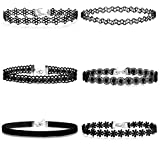 Jstyle 6 Pcs a Set Choker Necklaces for Women Girls Black Velvet Tattoo Choker Collar Lace Gothic Vintage Adjustable