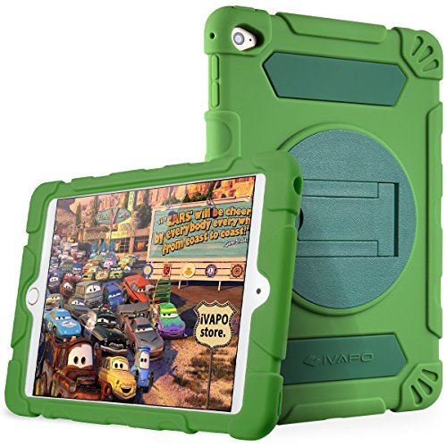 iPad Mini 4 Case for Kids Thick Armor Hybrid Rugged Silicone Shock Proof Absorbing Protective Case with Kickstand for Apple iPad Mini4 (Green)