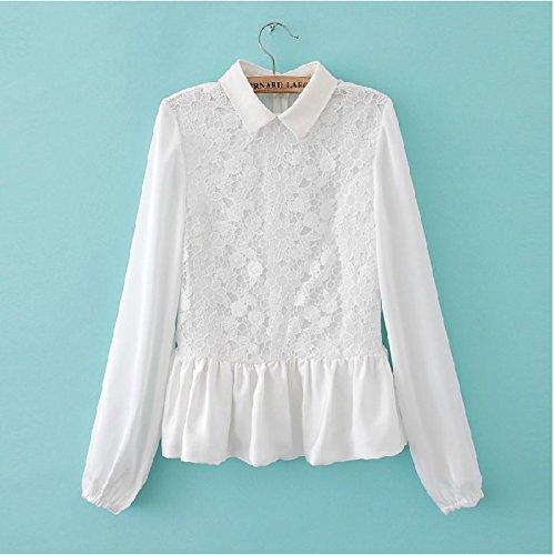 Amazon.co.jp: フラワーレース フリル パール 花柄 ブラウス シャツフェミニン チュニック 長袖: 服&ファッション小物通販