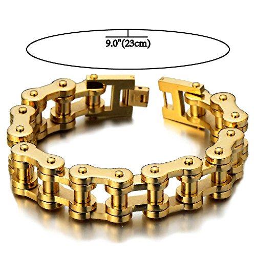 Classique – Or Bracelet Chaîne de Vélo – Bracelet en Acier Inoxydable Pour  Homme – Couleur Argent – Poli Mirro 33b7cfb2bbb2