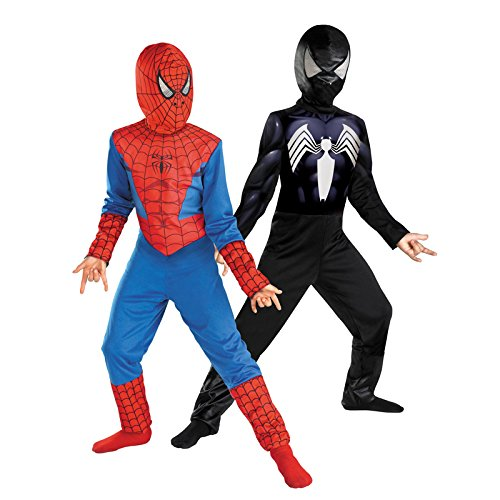 Reversible Spider-man Red to Black Kids Costume Size 7-8