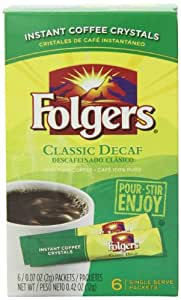Folgers Classic Decaf Instant Coffee, Single Serve Packets, (Pack of 12)