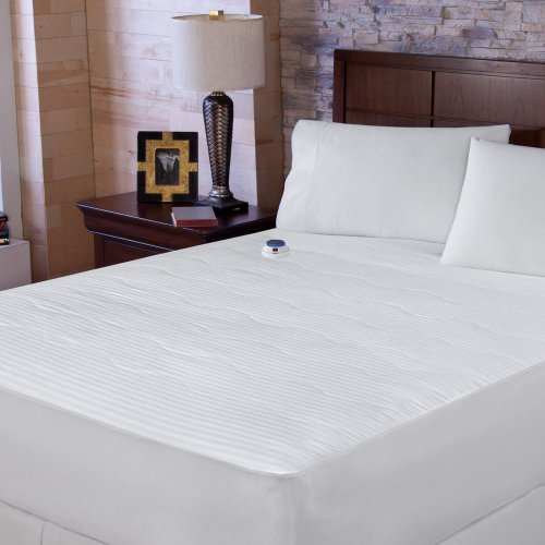 Serta Serta 233 Tc Dobby Stripe Electric Warming Mattress Pad, White / Cream, Cotton, King