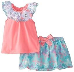 Little Lass Baby Girls\' Knit Top with Butterfly Print Skirt Set, Hot Pink, 12 Months