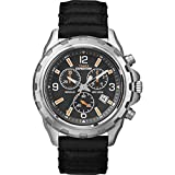 Expedition Men's Quartz Watch with Black Dial Chronograph Display and Black Leather Strap T49985