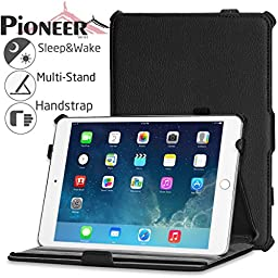 Navitech iPad Mini 3 Black Case / Cover With Multi Stand, Stylus Holder & Handstrap