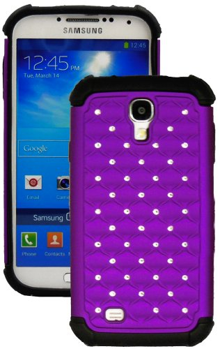"Mylife (Tm) Purple And Black - Diamond Bling Design (2 Piece Hybrid Bumper) Hard And Soft Case For The Samsung Galaxy S4 ""Fits Models: I9500, I9505, Sph-L720, Galaxy S Iv, Sgh-I337, Sch-I545, Sgh-M919, Sch-R970 And Galaxy S4 Lte-A Touch Phone"" (Fitted Bac"