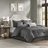 Madison Park Trinity 7 Piece Comforter Set Grey Queen