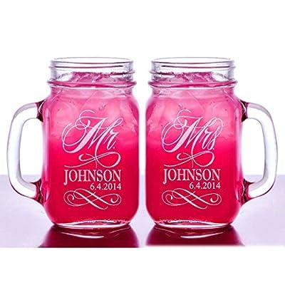 Custom Etched Personalized Mason Mugs, Set of 2, Clear