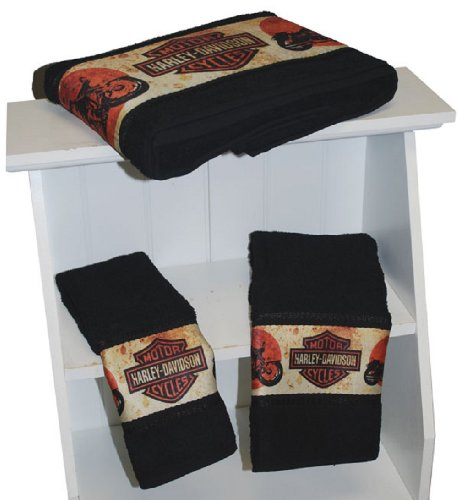 Harley-Davidson® 3-Piece Towel Bath Set. Retro Bike Dye. Harley Bar & Shields Retro Artwork. Bath, Hand, and Wash. All Cotton. 57818HI