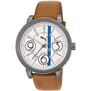 Puma PU103361004 Men's Motorsport White Dial Brown Leather Strap Watch