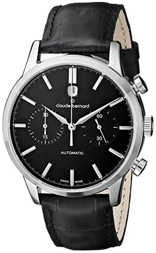 Claude-Bernard-Mens-08001-3-NIN-Classic-Automatic-Chronograph-Analog-Display-Swiss-Automatic-Black-Watch