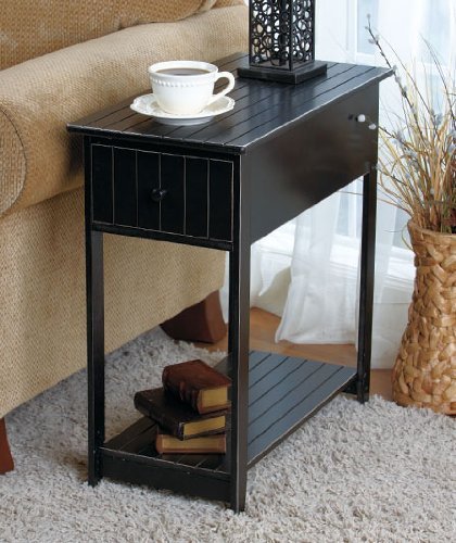 Slim Accent Table - Black front-598952