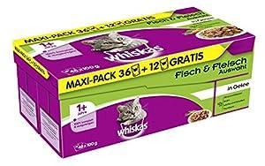 Whiskas 1+ Katzenfutter Fisch und Fleischauswahl in Gelee 36 + 12 gratis, 1 Packung (1 x 4.8 kg)