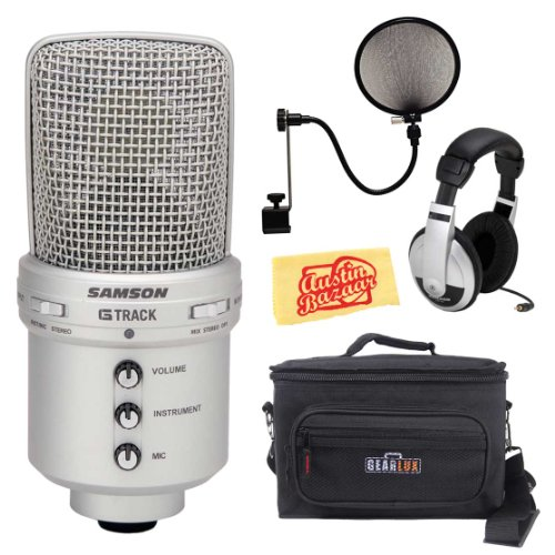 Samson G-Track Usb Condenser Microphone Bundle With Mic Bag, Headphones, Pop Filter, And Polishing Cloth