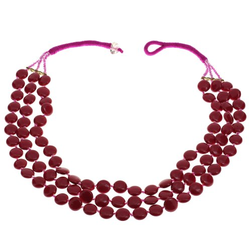Fuchsia Beaded Necklace Indian Handmade Costume Jewelry Fashion