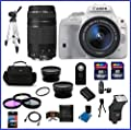 Canon EOS Rebel SL1 DSLR Camera with EF-S 18-55mm f/3.5-5.6 IS STM Lens - White (USA Warranty) & EF 75-300mm f/4-5.6 III Telephoto Zoom Lens + High Quality 2.2X Telephoto & .43X Wide Angle Lenses + Auto Power Flash + 48GB Accessory Bundle Kit