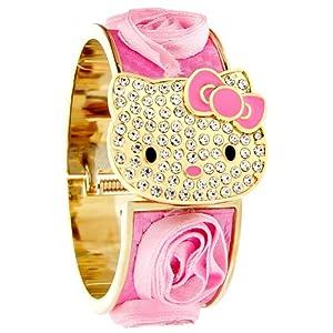 Hello Kitty By Sanrio Ladies Juniors Crystal Pink Flower Bangle Watch Hk1728s