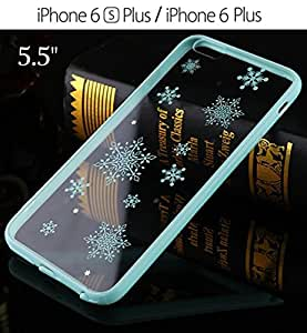 "KC iPhone 6 Plus / iPhone 6s Plus 3D Printed Snow Nano Plated Clear Gel Soft TPU Premium Quality Anti-Scratch Mobile Phone Smartphone Case Casing - 5.5"" Blue"