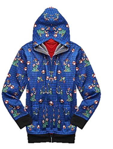 Super Mario Brothers Big Boys Zip up Hoodie Jacket Luigi & Yoshi