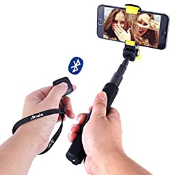 Arrela® Hornbill Bluetooth Selfie Stick Portable Extendable Foldable with Separate Bluetooth Wireless Remote Shutter for iPhone SE/6S/6S Plus/6/6 Plus/5S Samsung Galaxy GoPro ST1