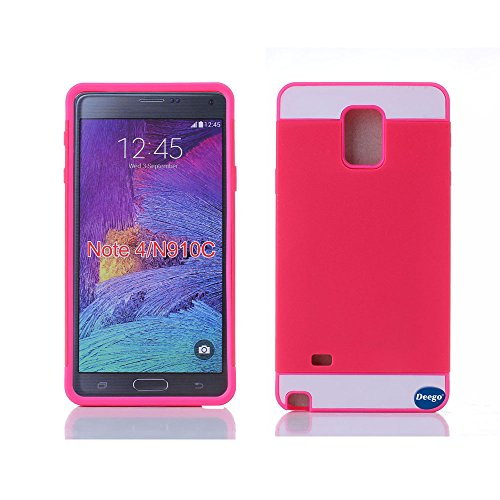 Galaxy Note 4 Card Case, Nancy'S Shop Samsung Galaxy Note 4 Case Credit Card[Dual Layer] Armor Defender Full Body Protection Cover Credit Card Case For Samsung Galaxy Note 4 / Galaxy Note Iv (Red/Rose Red Nancy'S Shop Samsung Galaxy Note 4 Case)